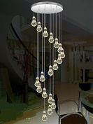 Stairs Lights Staircase Pendant Lamp LED Bubble Column Living Room Long Pendant Lamps Rotating Villa Suction Crystal Pillar