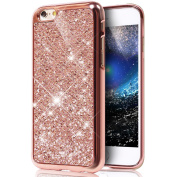 iPhone 7 Plus Case,PHEZEN Ultra-Slim Scratch-Resistant Shiny Bling Glitter Electroplated Soft TPU Silicone Rubber Protective Case Cover For Apple iPhone 7 Plus 14cm , Rose Gold
