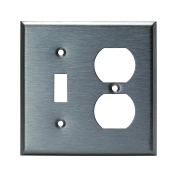 Enerlites 771121 2 Gang, Toggle and Duplex Combo Outlet Wall Plate, Standard Size, Stainless Steel