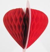 Quasimoon 20cm Red Valentine's Heart Honeycomb Tissue Paper Decoration by PaperLanternStore