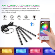 Powstro 4pcs RGB LED Strip Light USB Bluetooth Car Interior Phone APP Control Flexible Atmosphere Lamp Kit Foot Lamp Decorative Voice/Music Control Timing for Android iOS