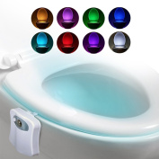 Synergi Brands Original LightBowl Toilet Night Light - Toilet Lighting & Bathroom Night Light - Motion Sensor Activated LED - 8 Colour Modes - Light Up Your Toilet Seat - Batteries Included