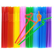 Tomnk 200PCS 26cm Disposable Flexible Drinking Straws Plastic Straws