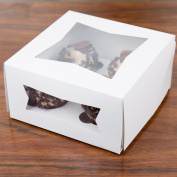 Pack of 10 Cupcake Box 8x8x4 with Window holds 4, Inserts Included w/Signature Party Picks