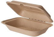Eco-Products, Inc EP-HCW96 23cm 1-Compartment Compostable Wheat Straw Clamshell, Rectangular Take-Out Container