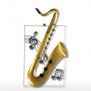 Tooarts Saxophone Hanging Ornament Wall Sculpture Home Decor Wall Hangings Decor Music Instrument Craft Gift