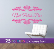 Personalised HAIR and BEAUTY salon, nail bar, custom name, floral frame swirls design, wall art sticker decal, PINK, 85cm x 57 cm