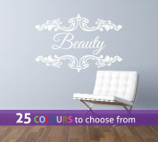 Personalised HAIR and BEAUTY salon, nail bar, custom name, floral frame swirls design, wall art sticker decal, WHITE, 85cm x 57 cm