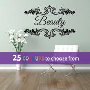 Personalised HAIR and BEAUTY salon, nail bar, custom name, floral frame swirls design, wall art sticker decal, BLACK, 85cm x 57 cm
