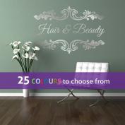 Personalised HAIR and BEAUTY salon, nail bar, custom name, floral frame swirls design, wall art sticker decal, SILVER (METALLIC), 85cm x 57 cm