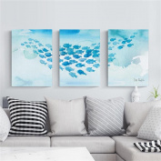 Modern Nordic Living Room Decorative Painting Triple Painting Simple Painting Watercolour Fish