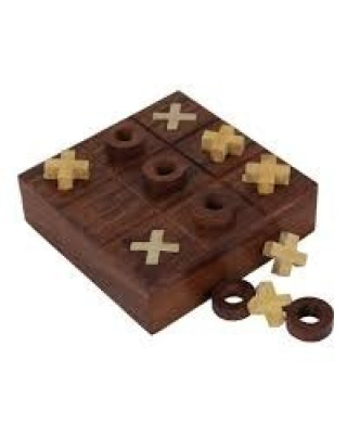 Bombay Wooden Tic Tac Toe and Solitaire Games
