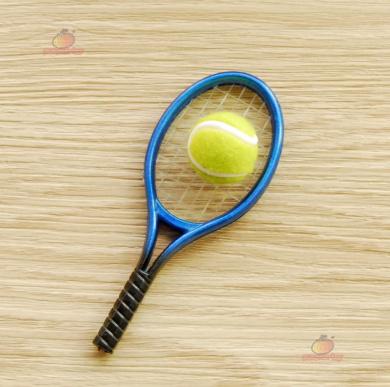 Dollhouse Miniature Tennis Racket & Ball Mini Toy Blue