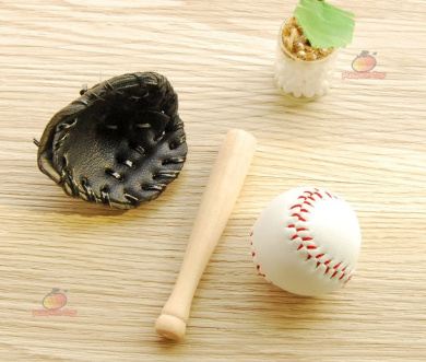 Dollhouse Miniature Wooden Baseball Bat Glove Black