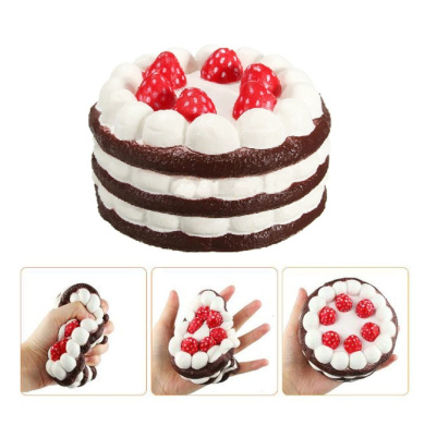 NeeJee Jumbo Super Slow Rising Squishy Strawberry Cake Cream Scented Relieves Stress Anxiety Toy-12cm ,Coffee