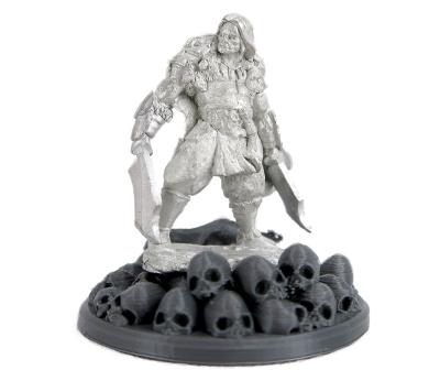 Kjell Bloodbear Barbarian 03362 on 45mm Skull and Bones Display Base 3D Printed