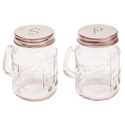 New The Kitchen Shop Salt & Pepper Jam Jar Shakers Glass With Copper Lid