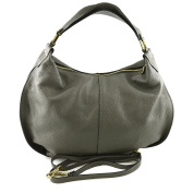 Made In Italy Genuine Leather Woman Hobo Bag Colour Dark Grey Tuscan Leather - Woman Bag