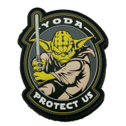 Yoda Protect Us Glow In The Dark Light Sabre Star Wars PVC Rubber Morale Patch, Hook and loop Morale Patch by NEO Tactical Gear