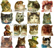 Victorian Cats Collage Sheet #103 Scrapbooking, Altered Art, Decoupage