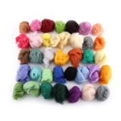 Wool Fibre Dyed Roving For Needle Felting Hand Spinning Set 36 Colours