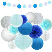 Fascola Mixed White Baby Blue White Party Decoration Kit Tissue Paper Pom Poms Flowers Paper Lanterns and Circle Dots Garlands for Birthday,Baby,Bridal Shower,Room decor & Themed Party Decoration Favour