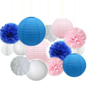 Fascola 14ps Mixed Navy Blue Pink White Party Tissue Pom Poms Hanging Paper Lantern Honeycomb Balls Nautical Themed Vintage Wedding Birthday Girl Baby Shower Nursery Decoration