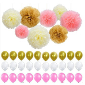 Fascola Set of 38 White Pink Gold Latex Balloons Tissue Paper Pom Poms Flower Great Party Supplies for Princess, First, 2nd, 3rd, 5th, 7th, Girl, Boy or any Party