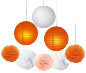 Fascola 16 pcs White Peach Orange 25cm 20cm Tissue Paper Pom Pom Paper Lanterns Mixed Package for Lavender Themed Party Bridal Shower Decor Baby Shower Decoration