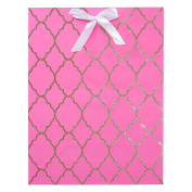 American Greetings Baby Shower Pink and Gold Glitter Trellis Medium Gift Bag