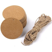 Round Shape 100 Pcs Kraft Paper Hang Tags Gift Tags Label Price Tag Name Card Tag For Wedding Party Favour With Jute Twine Brown