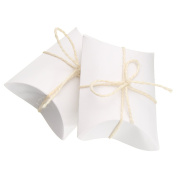 50 Pcs Kraft 9X6.5cm Cute Pillow Candy Box Wedding Party Favour Gift Paper Boxes With Rope