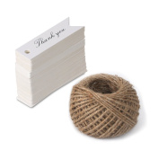 100 PCS 'Thank you' Printed Kraft Hang Tags for Wedding Favours Paper Gift Tags with 30m Jute Twine