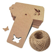 G2PLUS 100 PCS Hollow Butterfly Craft Gift Tags with String, Kraft Paper Gift Tag Vintage Wedding Party Favour Hang Tags with 30m Natural Jute Twine for Crafts Projects