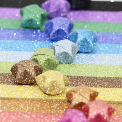 Origami Stars Papers Package DIY Paper, 360 Sheets - 18 Colours ( Glitter Origami Stars)