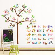 Decowall DA-1503 Animal Alphabet & Owl Numbers Tree Peel and Stick Nursery Kids Wall Stickers Decals