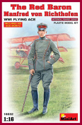 """Miniart 1:16 Scale """"The Red Baron Manfred von Rihthofen WWI Flying Ace"""" Plastic Model Kit"""