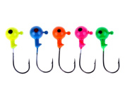 Angler's World of Jigs - Round Freshwater Jig Heads - Bright Assorted Colours - Two Tone Glow - Unpainted