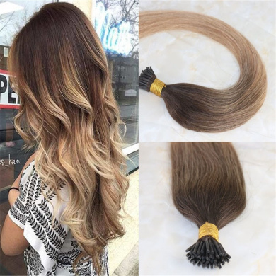 HairDancing 46cm 1g Per Strand 100g Per Package Remy Balayage Hair Extensions Colour Ombre Fading From #2 to #12 Ombre I Tip Extensions Remy Pre Bonded Hair Extensions