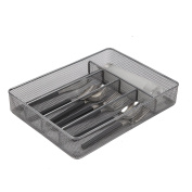 Finnhomy 5-Compartment Mesh Utensil Tray Kitchen Cutlery Drawer Organiser Silverware Storage Tray, Silver