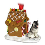KEESHOND Dog NEW Resin GINGERBREAD HOUSE Christmas Ornament 32 by Eyedeal Figurines