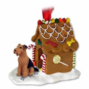AIREDALE TERRIER Dog GINGERBREAD HOUSE Christmas Ornament 38 by Eyedeal Figurines