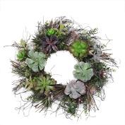 60cm Decorative Succulent Mix Spiral Vine Artifial Wreath - Unlit