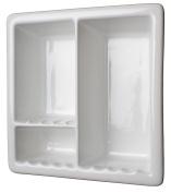 Three Compartment Recessed Ceramic Shower Niche Shelf-Gloss White