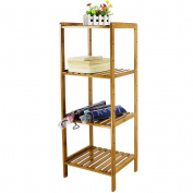 HBlife Bamboo 4-Tier Multifunctional Storage Shelving Unit Bathroom Shelves Towels Rack