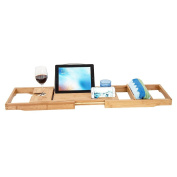 HBlife Bamboo Bathtub Caddy Over Tub Tray Organiser with Extendable Sides, Cellphone Tray & Integrated Wineglass Holder