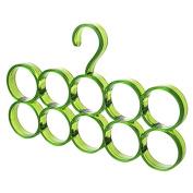 Drasawee Space Saving 10 Circles Scarfs Ties Belts Socks Hanger Closet Organiser Green