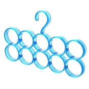 Drasawee Space Saving 10 Circles Scarfs Ties Belts Socks Hanger Closet Organiser Blue
