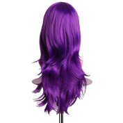 Purple Synthetic Spiral Curly Cosplay Wig 70cm Vibrant Soft Long Wavy Hair Wigs for Halloween Costume/Party Outfit, with Wig Cap
