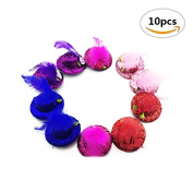 10PCS Sc0nni Baby Mini Top Hat Hair Clip/Girls Hair Accessories Fascinator Party Hats Dancing Cocktail Feather Headband Hair Clip.